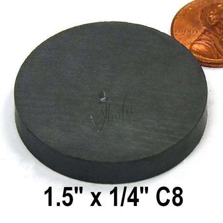 """Imán de Ferrita Disco 1.5"""" x 1/4"""" (38mm x 6mm aprox) Grado C8"""