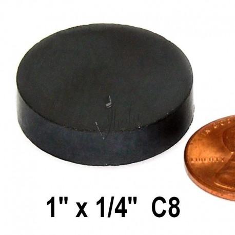"""Imán de Ferrita Disco 1"""" x 1/4"""" (25mm x 6mm aprox) Grado C8"""