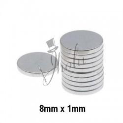 Imán de Neodimio Disco 8mm x 1mm Económico