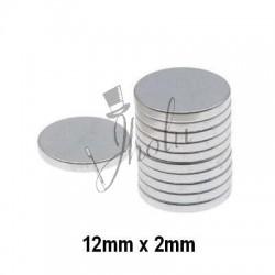Imán de Neodimio Disco 12mm x 2mm Económico