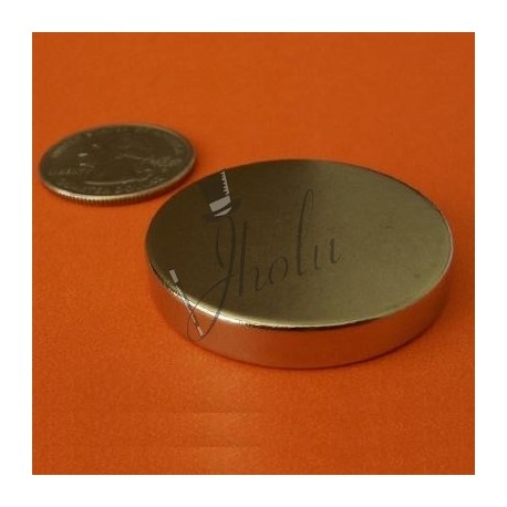 "Imán de Neodimio Disco 1.5"" x 1/4"" (38mm x 6mm aprox) Grado N42"