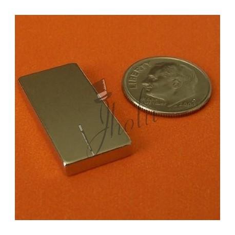 "Imán de Neodimio Bloque 1"" x 1/2"" x 1/8"" (25mm x 12mm x 3mm aprox) Grado N45"